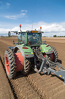 Fent tractor with dual wheel planting potatoes - Lincolnshire, April