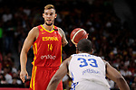 Willy Hernangomez of Spain and Ronald Roberts Jr of Dominican Republic during the Friendly match between Spain and Dominican Republic at WiZink Center in Madrid, Spain. August 22, 2019. (ALTERPHOTOS/A. Perez Meca)