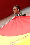 Spainish Land Army officlal carrying the national flag of Spain during a military parade marking the Armed Forces Day on June 2, 2012 in Valladolid.(ALTERPHOTOS/Acero)