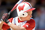 MADISON, WI - APRIL 16: Theresa Boruta #14 of the Wisconsin Badgers softball team awaits a pitch against the Indiana Hoosiers at Goodman Diamond on April 16, 2007 in Madison, Wisconsin. (Photo by David Stluka)