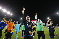 San Jose, CA - Saturday September 16, 2017: Andres Imperiale, Chris Wondolowski, Victor Bernardez, Tommy Thompson after a Major League Soccer (MLS) match between the San Jose Earthquakes and the Houston Dynamo at Avaya Stadium.