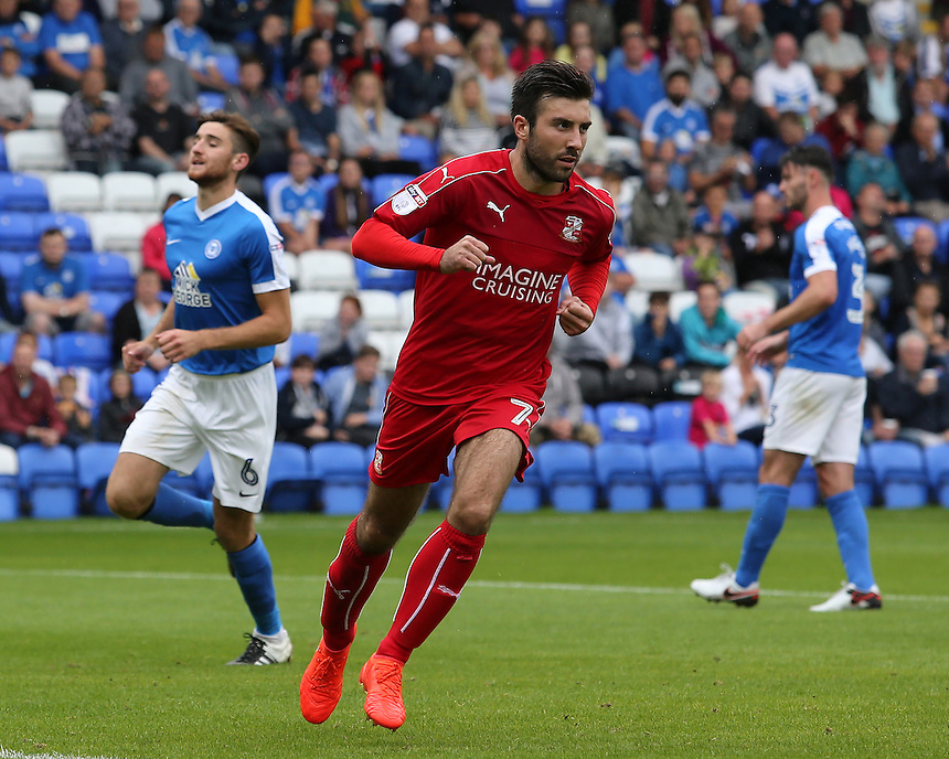 Swindon Town's Michael Doughty celebrates scoring his sides first goal <br /> <br /> Photographer David Shipman/CameraSport<br /> <br /> The EFL Sky Bet League One - Peterborough v Swindon Town - Saturday 3 September 2016 -  ABAX Stadium - Peterborough<br /> <br /> World Copyright &copy; 2016 CameraSport. All rights reserved. 43 Linden Ave. Countesthorpe. Leicester. England. LE8 5PG - Tel: +44 (0) 116 277 4147 - admin@camerasport.com - www.camerasport.com
