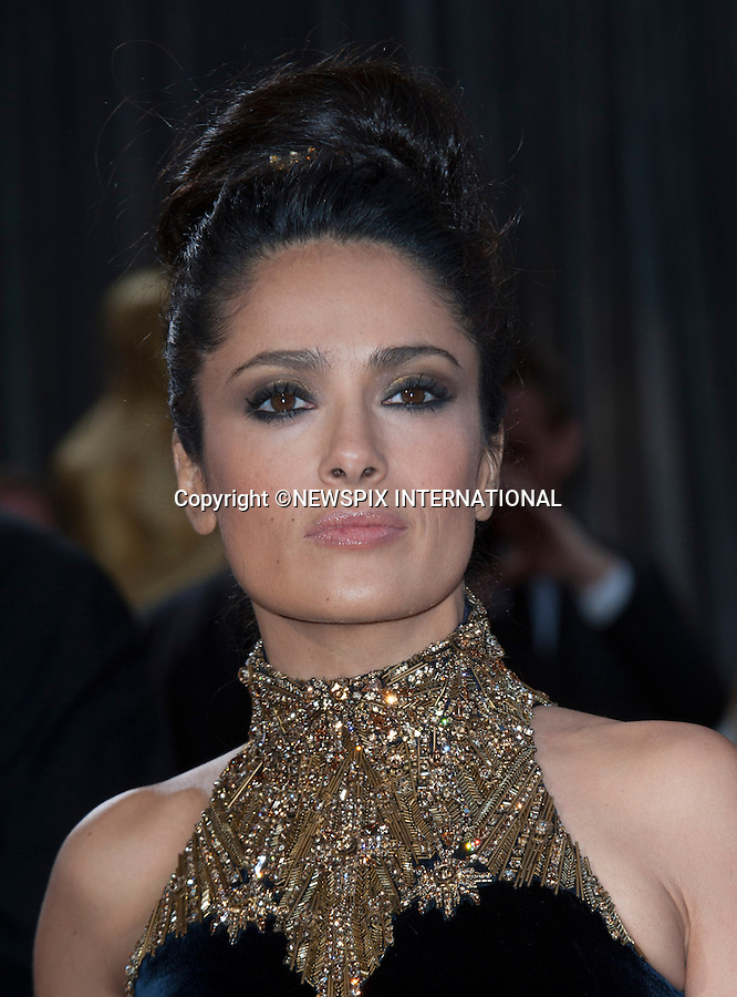 """SELMA HAYEK..Red Carpet arrival for the 85th Annual Academy Awards, Dolby Theatre, Hollywood, Los Angeles_23/02/2013.Mandatory Photo Credit: ©Dias/Newspix International..**ALL FEES PAYABLE TO: """"NEWSPIX INTERNATIONAL""""**..PHOTO CREDIT MANDATORY!!: NEWSPIX INTERNATIONAL(Failure to credit will incur a surcharge of 100% of reproduction fees)..IMMEDIATE CONFIRMATION OF USAGE REQUIRED:.Newspix International, 31 Chinnery Hill, Bishop's Stortford, ENGLAND CM23 3PS.Tel:+441279 324672  ; Fax: +441279656877.Mobile:  0777568 1153.e-mail: info@newspixinternational.co.uk"""
