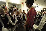 (Boston Ma 042713) Catherine Ternes, co-0rgnizer gives a pep talk to members of Clifden Academy Irish Step dancing group that Jane Richard was a member of, the 7 year old who lost a leg in the Boston Marathon bombing,  step dancing groups from through out the area came together Saturday night to raise money for the Richard family, the event was called Dance Out For Jane. (Jim Michaud Photo) for Sunday
