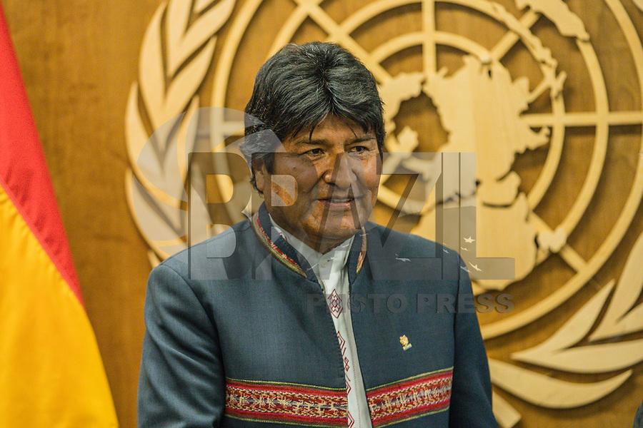 NOVA YORK, EUA - 23.09.2019 - ONU-NOVA YORK -  Evo Morales, Presidente da Bolivia durante encontro com  Antonio Guterres Secretário-geral das Nações Unidas na sede das Nações Unidas (ONU) em Nova York nos Estados Unidos nesta segunda-feira, 23 setembro. (Foto: Vanessa Carvalho/Brazil Photo Press)