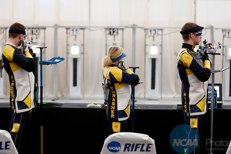 12 MAR 2016:  Members of the West Virginia University rifle team shoot during the NCAA Division I Men's and Women's Rifle Championship held at the Stile Athletics Field House in Akron, OH.  Jay LaPrete/NCAA Photos
