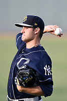Starting pitcher Nick Green (12) of the Charleston RiverDogs warms up before a game against the Columbia Fireflies on Monday, August 7, 2017, at Spirit Communications Park in Columbia, South Carolina. Columbia won, 6-4. (Tom Priddy/Four Seam Images)