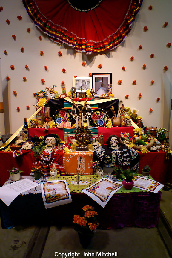 Offerings Mexican Day of the Dead or Dia de los Muertos altar.