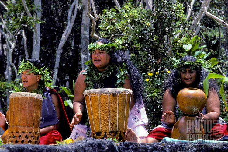 Hawaiian hula ladies chanting with drums