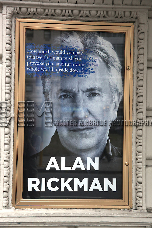 'Seminar' A New Comedy, starring Alan Rickman,  Theatre Marquee unveiling at the Golden in New York City.