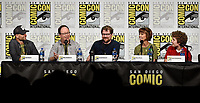 SAN DIEGO COMIC-CON© 2019: L-R: 20th Century Fox Television and Hulu's Solar Opposites Executive Producers Josh Bycel, Mike McMahan, Co-Creator/Executive Producer Justin Roiland, Cast Members Mary Mack and Sean Giambrone during the SOLAR OPPOSITES panel on Friday, July 19 at the SAN DIEGO COMIC-CON© 2019. CR: Frank Micelotta/20th Century Fox Television