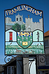 Town sign with coat of arms, Framlingham, Suffolk, England