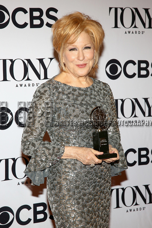 NEW YORK, NY - JUNE 11:  Actress Bette Midler poses with award at the 71st Annual Tony Awards, in the press room at Radio City Music Hall on June 11, 2017 in New York City.  (Photo by Walter McBride/WireImage)