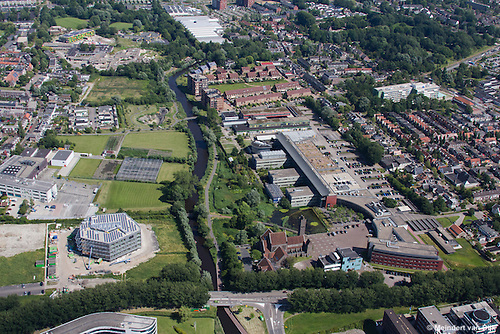 Luchtfoto WaterCampus,  Wetsus, Water Alliance, Van Hall Larenstein, Friese Milieu Federatie en CEW