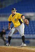 Bradenton Marauders pitcher Brett McKinney (28) delivers a pitch during a game against the Dunedin Blue Jays on April 14, 2015 at Florida Auto Exchange Stadium in Dunedin, Florida.  Bradenton defeated Dunedin 7-1.  (Mike Janes/Four Seam Images)