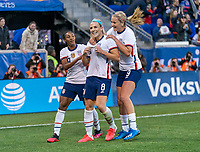 HARRISON, NJ - MARCH 08: Julie Ertz #8 of the United States celebrates with Crystal Dunn #19 and Lindsey Horan #9 during a game between Spain and USWNT at Red Bull Arena on March 08, 2020 in Harrison, New Jersey.