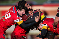 Picture by Alex Whitehead/SWpix.com - 11/02/2018 - Rugby League - Betfred Championship - Dewsbury Rams vs London Broncos - Tetleys Stadium, Dewsbury, England - Dewsbury's Jode Sheriffe is tackled by London's Matthew Gee, Mark Ioane and Thomas Spencer.
