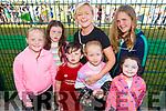 Sinead McDonagh, Rebecca Weir, Ollie Dillon, Aoife McDonagh, Evie Fitzgerald, Debra Dillon and Kayleigh McDonagh enjoying the Pig racing in the Ballyheigue GAA field on Thursday.