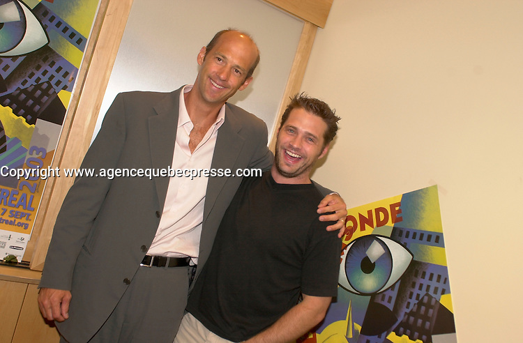 September 2,  2003, Montreal, Quebec, Canada<br /> <br /> Jason Priestley , actor (R) and Anthony Edwards, Producer and former TV Star of ER (L) pose for a photo for the movie DIE MOMMY DIE !<br /> september 2 2003<br /> <br /> The Festival runs from August 27th to september 7th, 2003