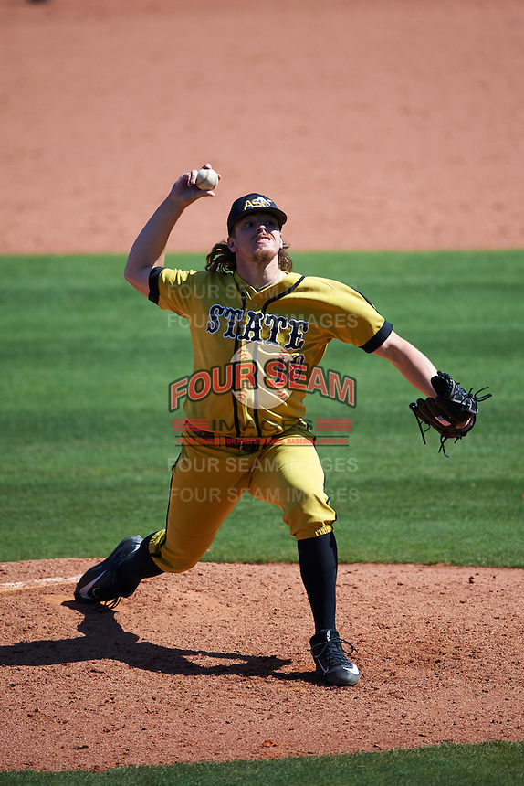 Alabama State Hornets relief pitcher Darren Kelly (18) delivers a pitch during a game against the Maryland Terrapins on February 19, 2017 at Spectrum Field in Clearwater, Florida.  Maryland defeated Alabama State 9-7.  (Mike Janes/Four Seam Images)
