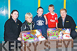 COMPETITIONS WINNERS: Conor Colloff and Tyreese Flaherty both of Marian Park, winners of Mannix's Mace shop Halloween colouring competition collecting their Halloween Hampers on Thursday l-r Nicola O'Sullivan, Jack Collins, Conor Colloff, Tyreese Flaherty and Deborah Cunningham (Manager)..   Copyright Kerry's Eye 2008