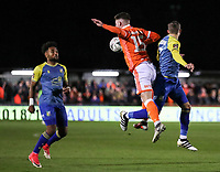 Blackpool's Jordan Thompson competing with Solihull Moors' Jamie Reckord<br /> <br /> Photographer Andrew Kearns/CameraSport<br /> <br /> The Emirates FA Cup Second Round - Solihull Moors v Blackpool - Friday 30th November 2018 - Damson Park - Solihull<br />  <br /> World Copyright © 2018 CameraSport. All rights reserved. 43 Linden Ave. Countesthorpe. Leicester. England. LE8 5PG - Tel: +44 (0) 116 277 4147 - admin@camerasport.com - www.camerasport.com