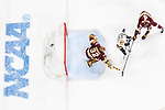 ST PAUL, MN - APRIL 7: Hunter Shepard #32 and Dylan Samberg #4 of the Minnesota-Duluth Bulldogs block the puck from Andrew Oglevie #15 of the Notre Dame Fighting Irish during the Division I Men's Ice Hockey Championship held at the Xcel Energy Center on April 7, 2018 in St Paul, Minnesota. (Photo by Tim Nwachukwu/NCAA Photos via Getty Images)