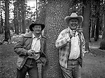 Billy Butler well know packer in the Park with a member of his crew.  Bill has the white hat.<br /> <br /> In August of 1987, the family and friends of Ansel Adams made a trip to Mount Ansel Adams to honor Ansel by putting his ashes on the mountain.  Leading the trip were Dr. Michael Adams and his wife, Jeanne, their son, Matthew, and daughter, Sarah.  Also in the group were Ansel&rsquo;s daughter, Anne Adams Helms, and her husband, Ken Helms, and Anne's daughters, Virginia (Ginny) Mayhew and Sylvia Mayhew Desin, and Sylvia&rsquo;s husband, Greg Desin.  Other members of the trip were Roger and Mitzi Hall, Matt Weston, Mrs. Desin (Greg&rsquo;s mother), and Billy Butler.  The Adams family invited me along with Leo Stutzin (Modesto Bee reporter) and my eldest son, Aaron Golub.  <br /> <br /> With some of us on horseback and others on foot, we began the hike at Tuolumne High Sierra Camp and headed to Vogelsang High Sierra Camp for the first night out.  The second day, we began by climbing through Vogelsang Pass, then descended by switchback down to Lewis Creek.  After climbing up from the creek we hiked by the Cony Crags before descending into the Lyell Fork of the Merced River ending up near Hutchings Creek at what is now referred to as the Ansel Adams Camp.  <br /> <br /> This camp was originally known generically as a Sierra Club Camp, but has more recently been referred to as Ansel Adams Camp because in 1934, Ansel led a Sierra Club outing to the Lyell Fork of the Merced River.  After the group climbed the then-unnamed peak that Adams called &ldquo;The Tower in Lyell Fork,&quot; they gathered around the campfire and agreed that the peak should bear Ansel&rsquo;s name.  The U.S. Geological Survey does not, however, permit naming features for living individuals, so the peak did not officially become Mt. Ansel Adams until 1985, one year and one day after his death.  Photo by Al Golub/Golub Photography