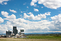 Grain elevators are seen on a ranch outside Lewistown, Montana.