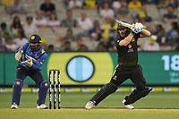 1st November 2019; Melbourne Cricket Ground, Melbourne, Victoria, Australia; International T20 Cricket, Australia versus Sri Lanka; Aaron Finch of Australia plays a cut shot - Editorial Use