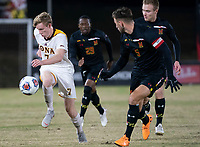 COLLEGE PARK, MD - NOVEMBER 21: Josh Plimpton #7 of Iona moves way from Johannes Bergman #5 of Maryland during a game between Iona College and University of Maryland at Ludwig Field on November 21, 2019 in College Park, Maryland.