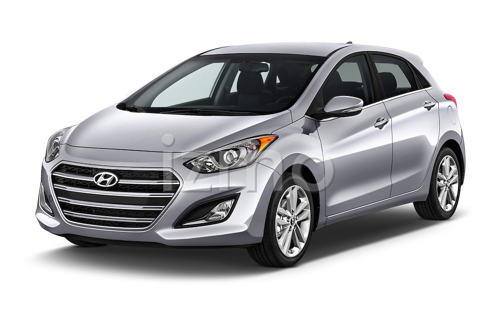 2016 Hyundai Elantra Gt 5 Door Hatchback angular front stock photos of front three quarter view