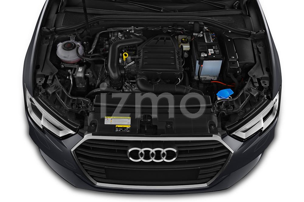 Car stock 2019 Audi A3 Sportsportback Sport 5 Door Hatchback engine high angle detail view