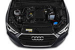 Car stock 2019 Audi A3 Sportsportback Sport 5 Door Hatchback engine high angle detail view