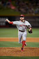 Chattanooga Lookouts relief pitcher Alex Powers (32) during a Southern League game against the Birmingham Barons on May 2, 2019 at Regions Field in Birmingham, Alabama.  Birmingham defeated Chattanooga 4-2.  (Mike Janes/Four Seam Images)