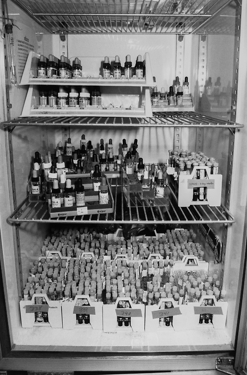 Tubes on bottom shelf. Top shelf has testing agents used to find blood type. (Photo by George Washington University Hospital/CQ Roll Call via Getty Images)