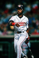 Marquis Grissom of the Cleveland Indians during a game at Anaheim Stadium in Anaheim, California during the 1997 season.(Larry Goren/Four Seam Images)