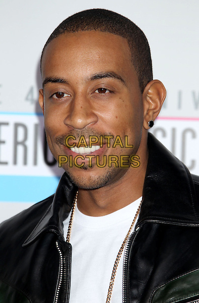 Ludacris, Chris Bridges.40th Anniversary American Music Awards - Arrivals held at Nokia Theatre L.A. Live, Los Angeles, California, USA..November 18th, 2012.AMA AMAs headshot portrait stubble facial hair white top leather jacket black .CAP/ADM/RE.©Russ Elliot/AdMedia/Capital Pictures.