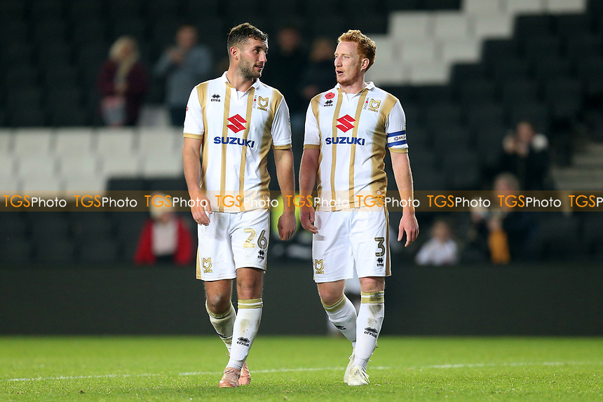 Baily Cargill and Dean Lewington of MK Dons after MK Dons vs Macclesfield Town, Sky Bet EFL League 2 Football at stadium:mk on 17th November 2018