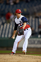 Syracuse Chiefs relief pitcher Trevor Gott (15) delivers a pitch during a game against the Scranton/Wilkes-Barre RailRiders on June 14, 2018 at NBT Bank Stadium in Syracuse, New York.  Scranton/Wilkes-Barre defeated Syracuse 9-5.  (Mike Janes/Four Seam Images)