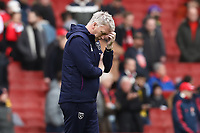 7th March 2020; Emirates Stadium, London, England; English Premier League Football, Arsenal versus West Ham United; A dejected looking West Ham United Manager David Moyes