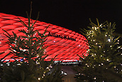 December 5th 2017, Allianze Arena, Munich, Germany. UEFA Champions league football, Bayern Munich versus Paris St Germain;  The Alliamze Arean lit for tonights game with Christmas trees in foreground