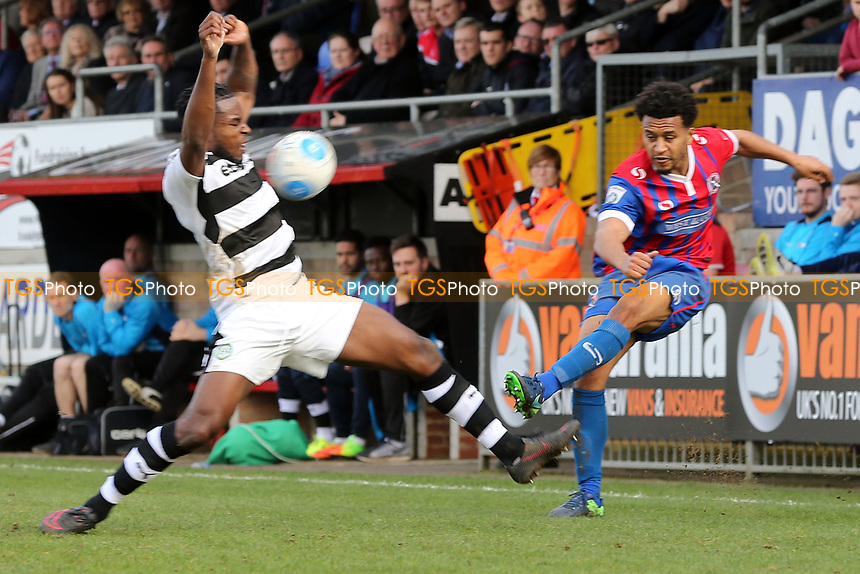Dale Bennett of Forest Green Rovers and Joe Widdowson of Dagenham during Dagenham & Redbridge vs Forest Green Rovers, Vanarama National League Football at the Chigwell Construction Stadium on 11th March 2017