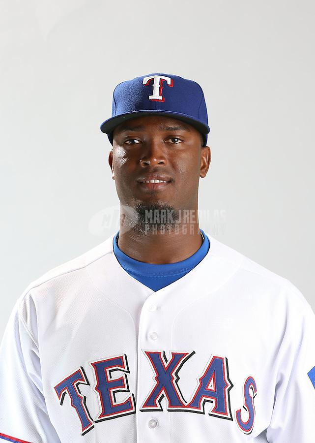 Feb. 20, 2013; Surprise, AZ, USA: Texas Rangers pitcher Johan Yan poses for a portrait during photo day at Surprise Stadium. Mandatory Credit: Mark J. Rebilas-