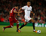 Emre Can of Liverpool chases after Steven N'Zonzi of Sevilla during the Champions League Group E match at the Anfield Stadium, Liverpool. Picture date 13th September 2017. Picture credit should read: Simon Bellis/Sportimage