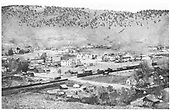 General scene from hillside.  Cars on sidings.<br /> D&amp;RG  Buena Vista, CO