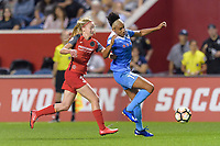Bridgeview, IL - Saturday August 12, 2017: Tyler Lussi, Samantha Johnson during a regular season National Women's Soccer League (NWSL) match between the Chicago Red Stars and the Portland Thorns FC at Toyota Park. Portland won 3-2.