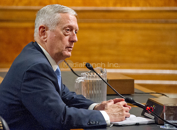 United States Marine Corps General James N. Mattis (retired) testifies before the US Senate Committee on Armed Services during his confirmation hearing to be Secretary of Defense on Capitol Hill in Washington, DC on Thursday, January 12, 2017.<br /> Credit: Ron Sachs / CNP /MediaPunch