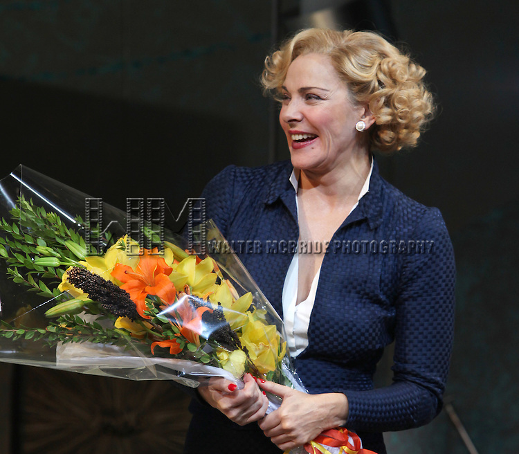 Kim Cattrall.during the Opening Night Performance Curtain Call for 'Private Lives' at the Music Box Theatre in New York City on 11/17/2011.