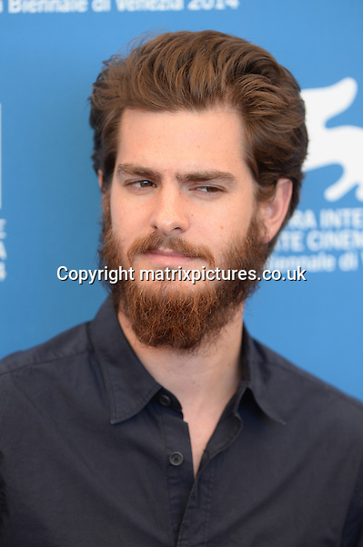 NON EXCLUSIVE PICTURE: PAUL TREADWAY / MATRIXPICTURES.CO.UK<br /> PLEASE CREDIT ALL USES<br /> <br /> WORLD RIGHTS<br /> <br /> British-American actor Andrew Garfield attends the She's Funny That Way photocall during the 71st Venice Film Festival,  Palazzo del Casino, Venice, Italy.<br /> <br /> AUGUST 31st 2014<br /> <br /> REF: PTY 143820